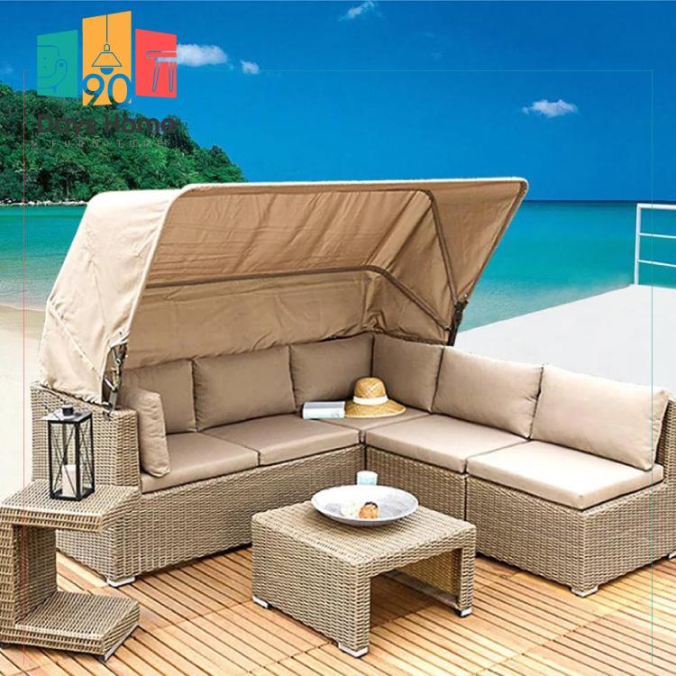 corner rattan garden furniture with tent