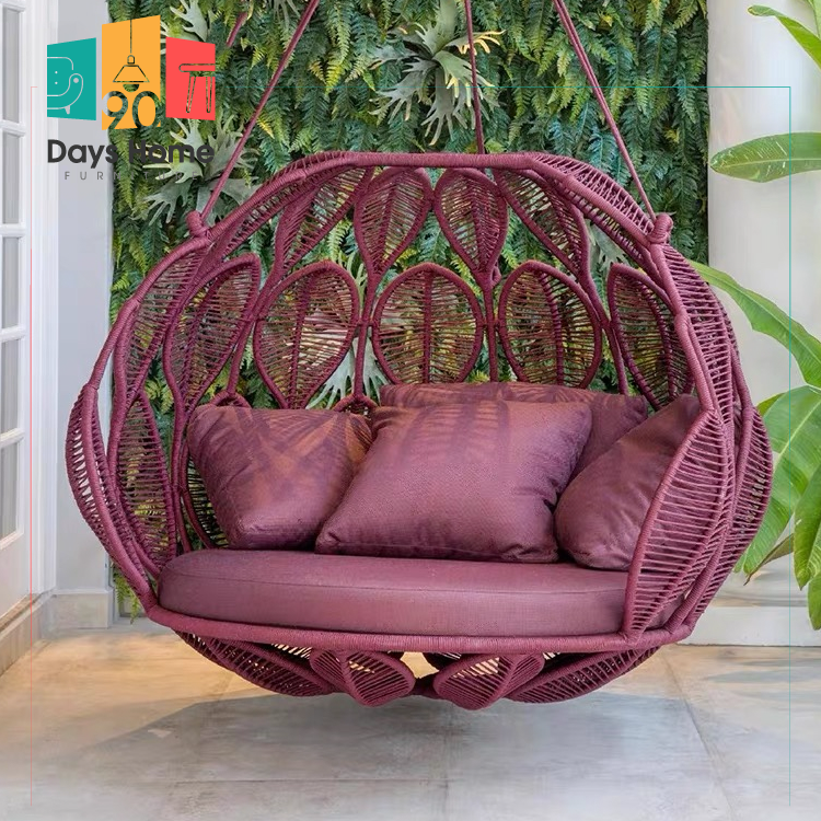 Hanging garden swing chair Rattan chair Leaf style furniture