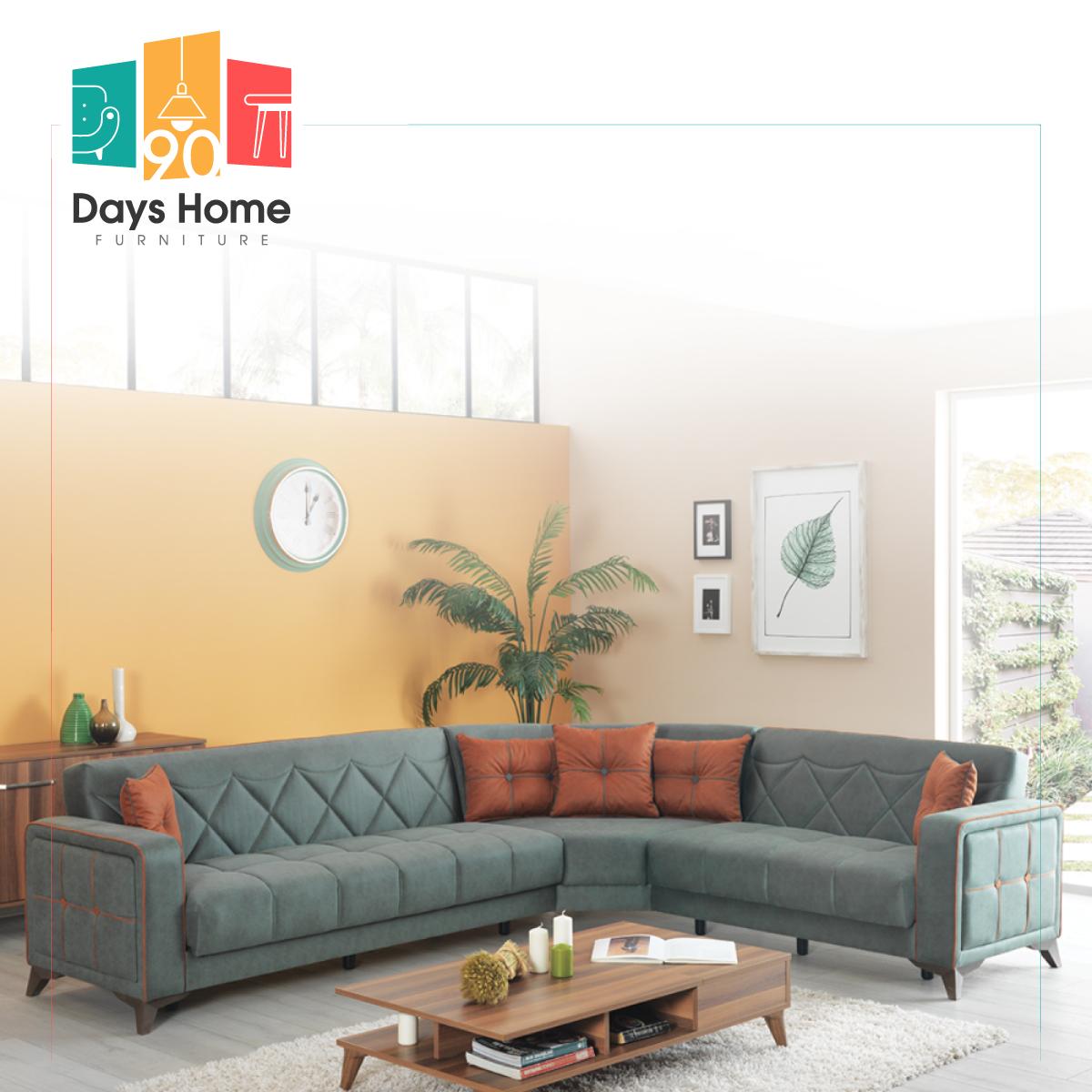 طقم أريكة زاوية مقسمة ناعمة من النسيج المنزلي