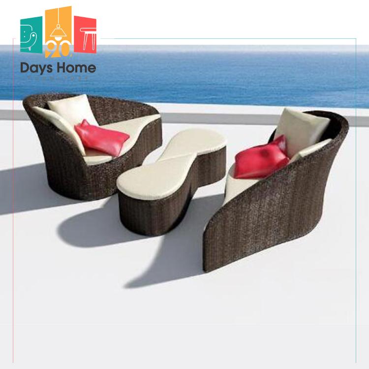 New design outdoor sunbed rattan furniture