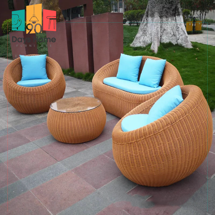 Leisure outdoor furniture 4-seater bamboo sofa set