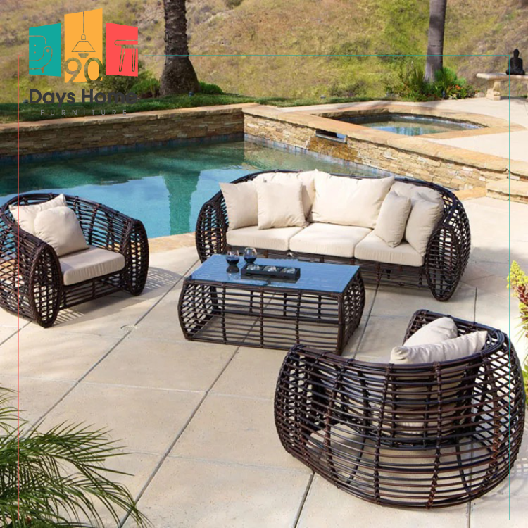 A group of elegant rattan outdoor furniture