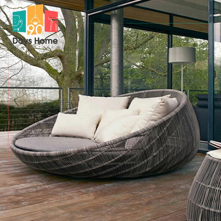 rattan sunbed garden outdoor furniture