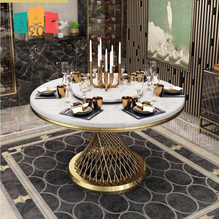 طاولة طعام رخامية مستديرة فاخرة مع سطح دوار